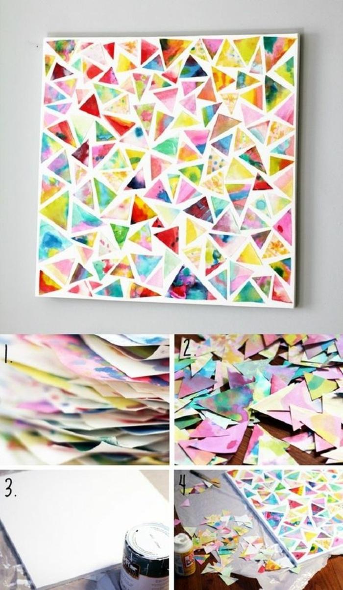 objet déco murale à faire soi même, activité manuelle printemps, diy cadre mural sur feuille cartonné blanche