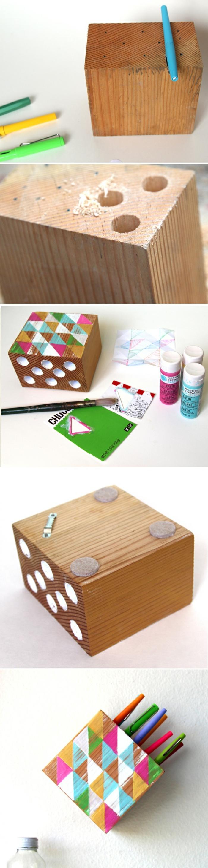 bricolage recyclage facile, comment faire un pot à crayon, diy accessoire bureau pour crayon, faire un pot crayon suspendu avec morceau bois