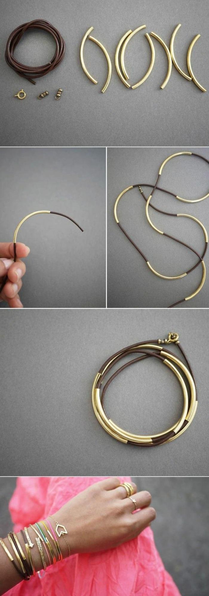activité manuelle printemps, faire ses bijoux soi-même, tutoriel création bracelet bimatière, modèle de bracelet doré diy