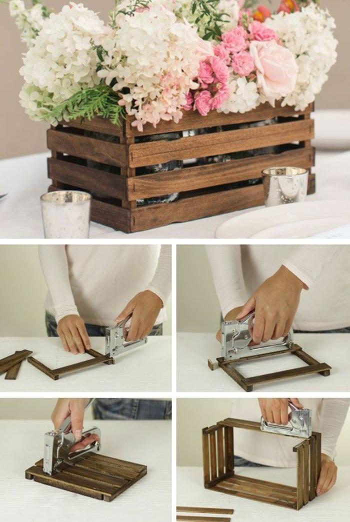 activité manuelle automne, faire une déco de table soi même, modèle de décoration florale avec cagette et fleurs