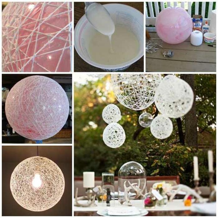 comment faire une décoration mariage extérieure, modèles de lampes suspendues DIY fabriquées avec ficelles