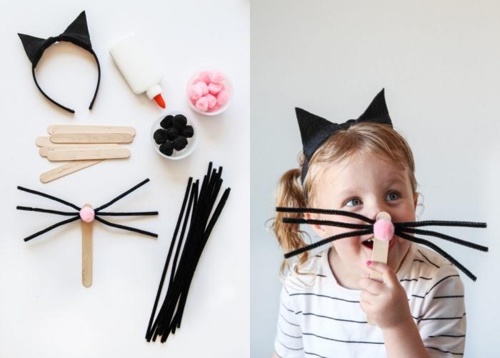 activité manuelle facile pour Halloween, bricolage masque moustaches et nez de chat DIY, déguisement chat halloween enfant