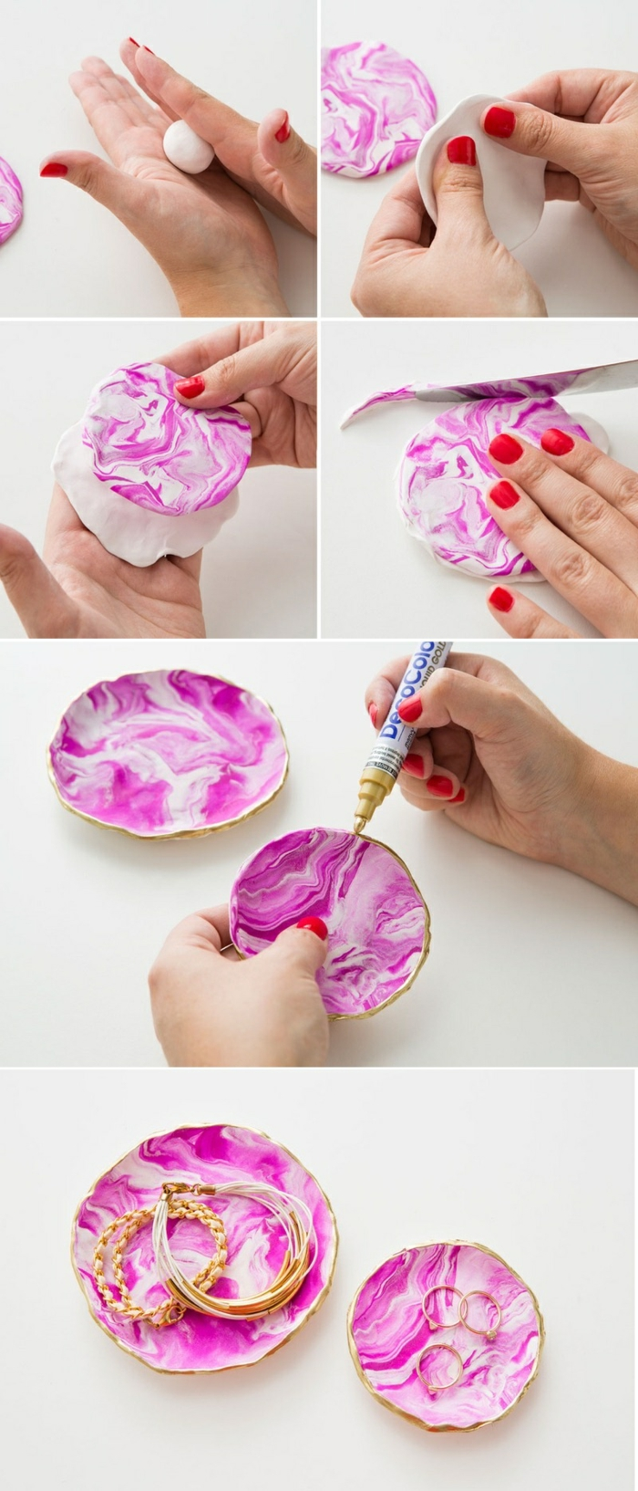 technique mixage argile en morceaux, idée activité manuelle printemps, faire un support pour bijoux avec argile