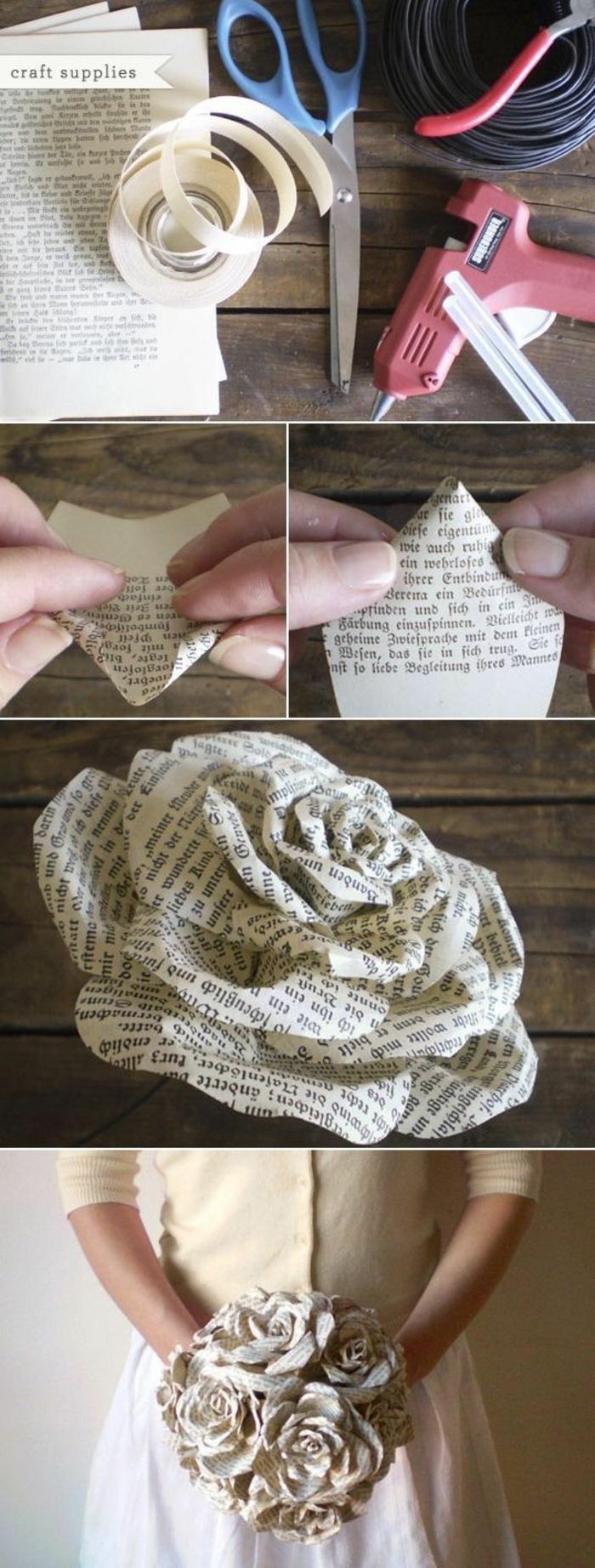 comment faire des fleurs en papier, diy rose en papier, technique origami facile, activité manuelle printemps