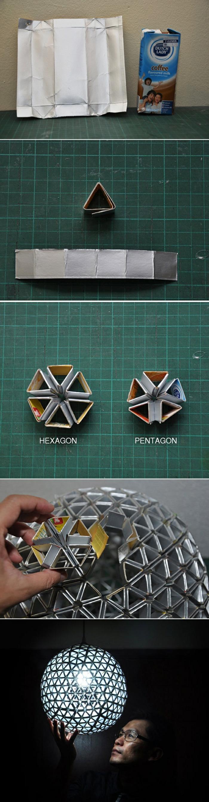 bricolage decoration facile, idée comment faire une lampe suspendue originale avec figurines géométriques en carton