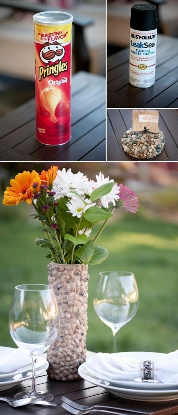 bricolage automne facile, modèle de vase DIY fabriqué avec boîte en carton, idée comment faire un vase avec carton et cailloux