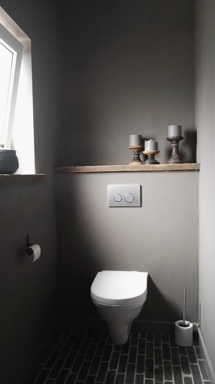 idée couleur wc tendance moderne, aménagement toilettes aux murs gris avec carrelage de sol en gris anthracite