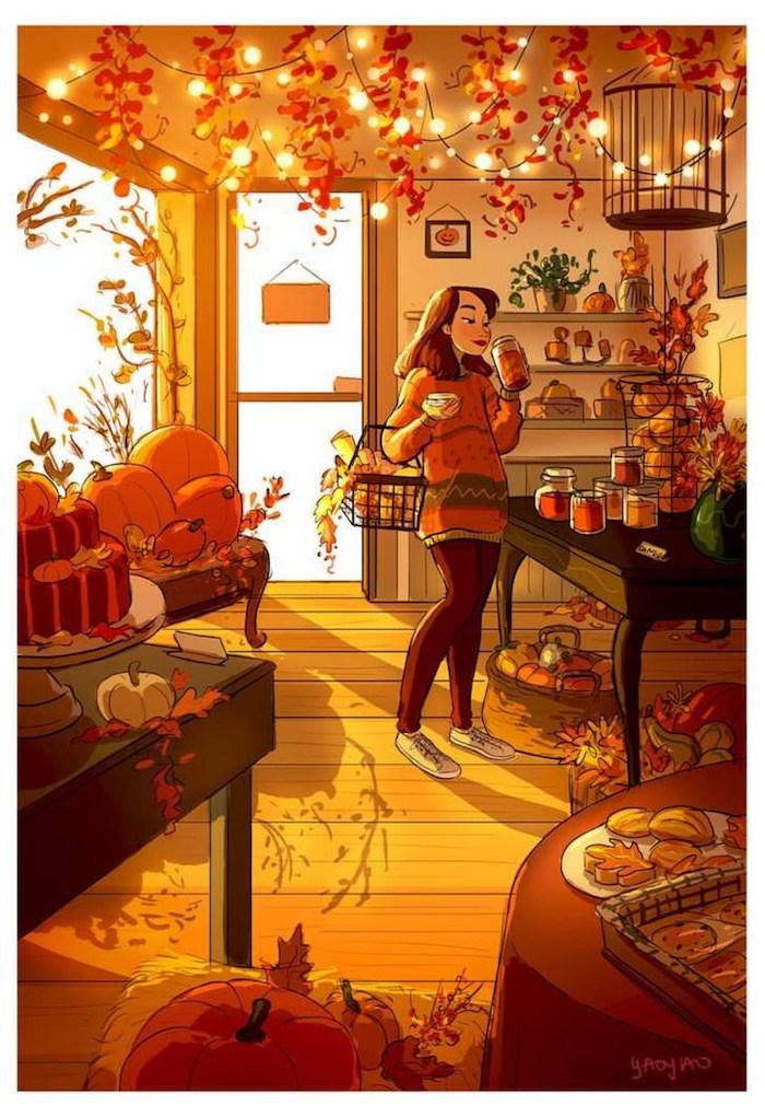 Fille dans un magazine plein de citrouilles, lampes led et feuilles d'automne, dessin feuille d'arbre, dessin automne saison de l'année