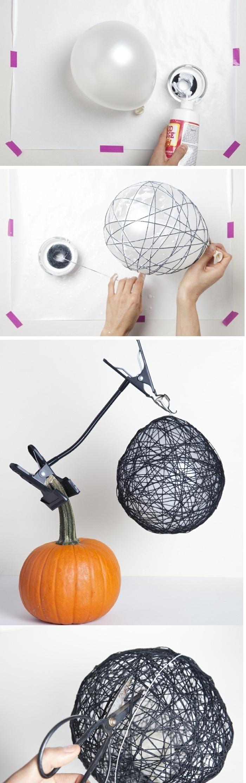 pas à pas création bulle en ficelle, activité manuelle facile, diy bol fabriqué avec ballon colle et ficelle noire, bricolage automne facile