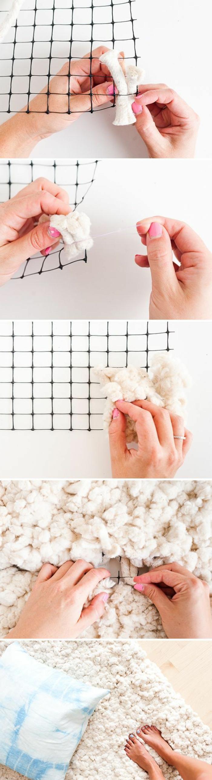 tutoriel fabrication tapis moelleux, technique création tapis avec laine et tapis antidérapant, idée activité manuelle hiver