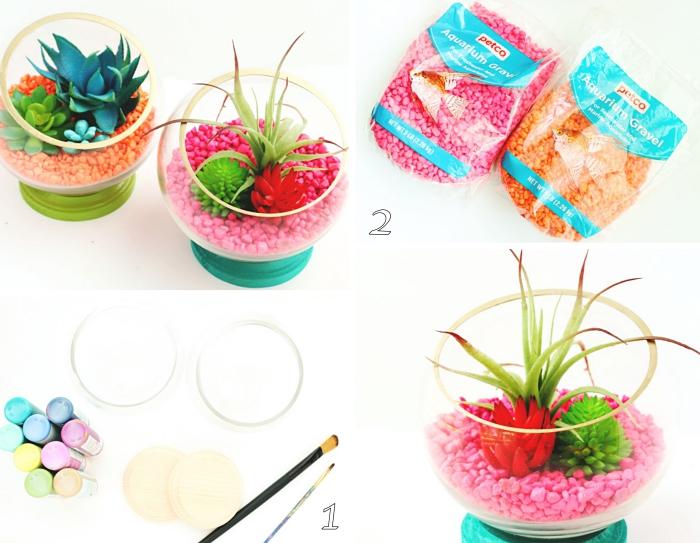 tutoriel comment faire un terrarium avec plantes artificielles, activité manuelle maternelle, déco avec cailloux roses et fausses succulentes