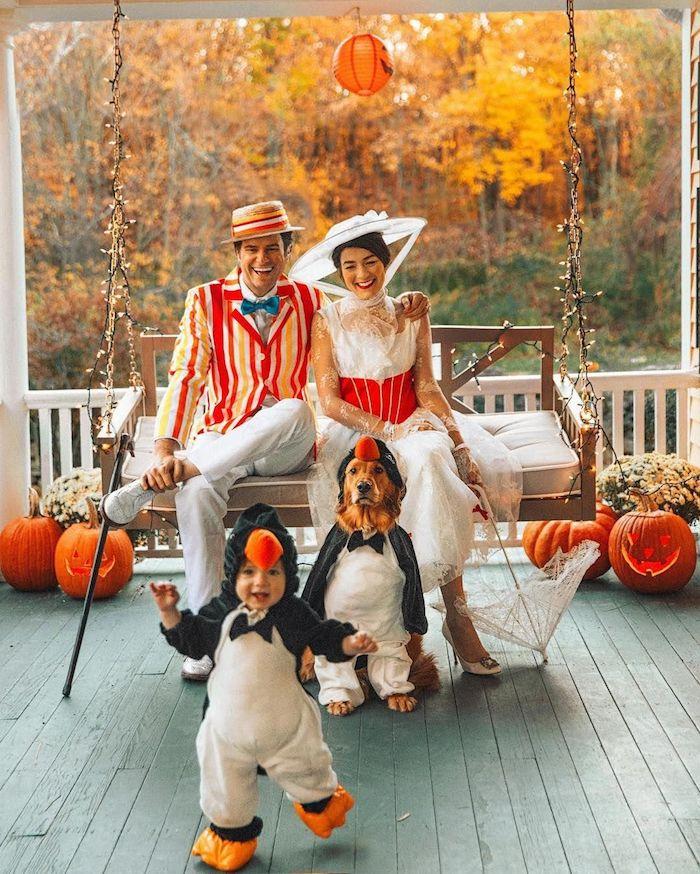 Manchot deguisement enfant et son chien, halloween costume pour bébé, costumes pour toute la famille originale idée