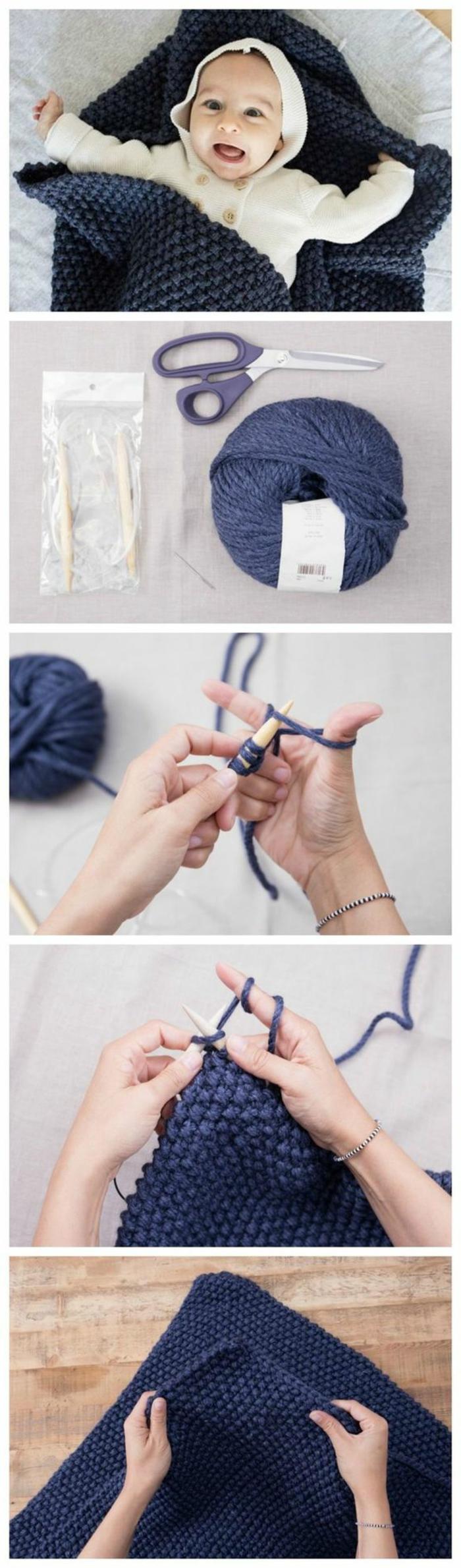 idée cadeau bricolage, tutoriel comment fabriquer un plaid pour bébé avec boule de laine, diy plaid en crochet