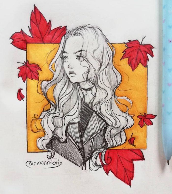 FIlle dessin adorable, tete de fille cheveux longs bouclés dessin crayon encadre de feuille d'automne dessin, beau dessin automne