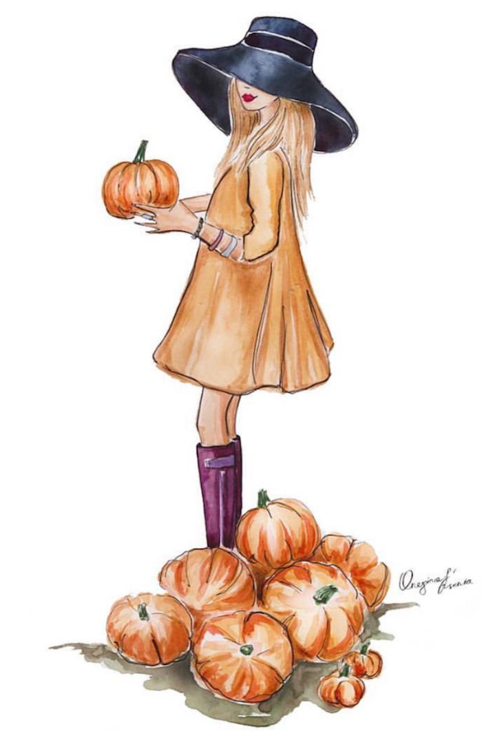 Belle fille en robe trapèze orange, choisir son citrouille dessin fille moderne, dessin automne beauté