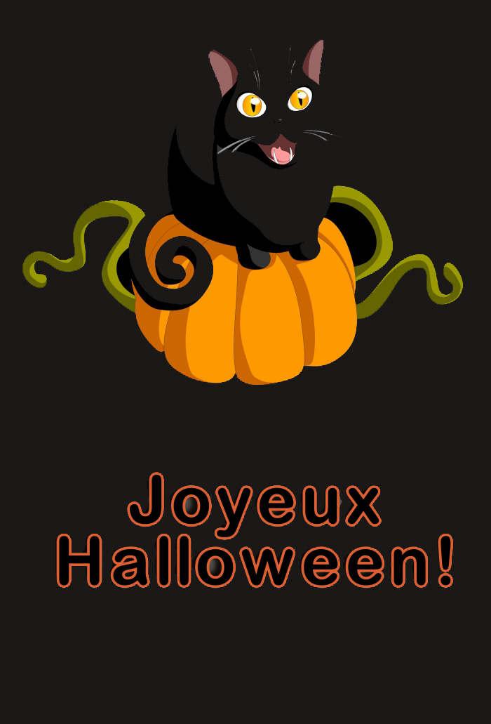 citrouille halloween dessin couleur graphique pour wallpaper iphone Halloween, symbole de Halloween chat noir