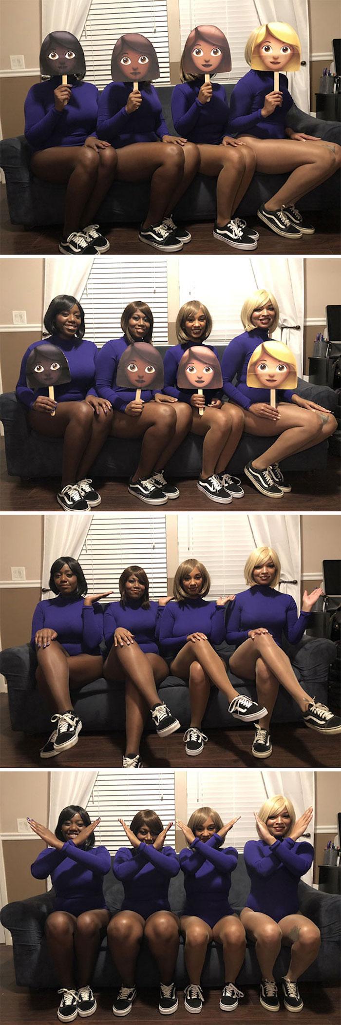 Groupe idée déguisement halloween, déguisement humoresque pour filles jouer les emoticones filles
