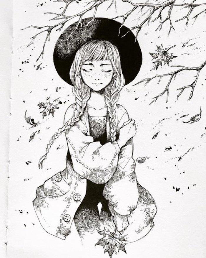 Fille habillée pour halloween dessin, idée de dessin automne fille avec tresses et chapeau grand, dessins au crayon