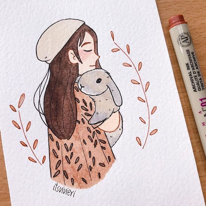 Fille et son lapin adorable, dessin citrouille, photo de dessin automne inspiration