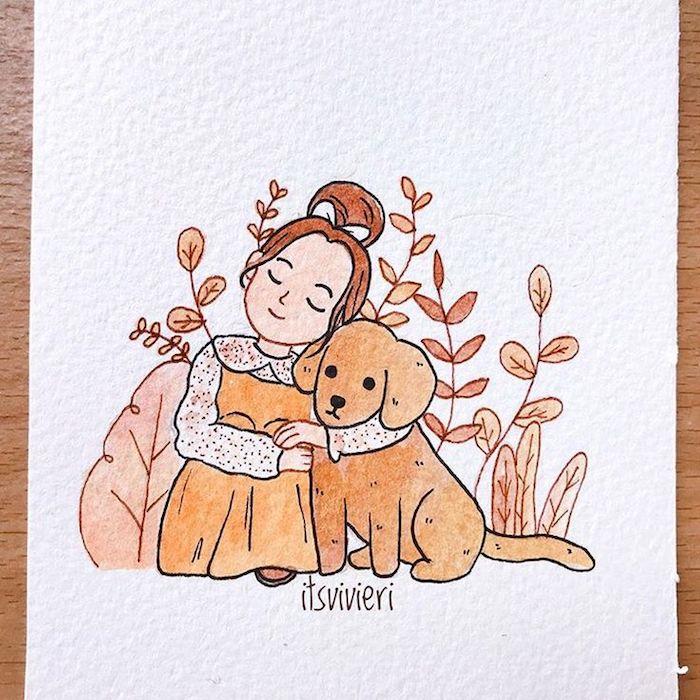 Fille en robe longue orange embrassant son chien adorable, comment dessiner une citrouille, dessin automne de fille et chien