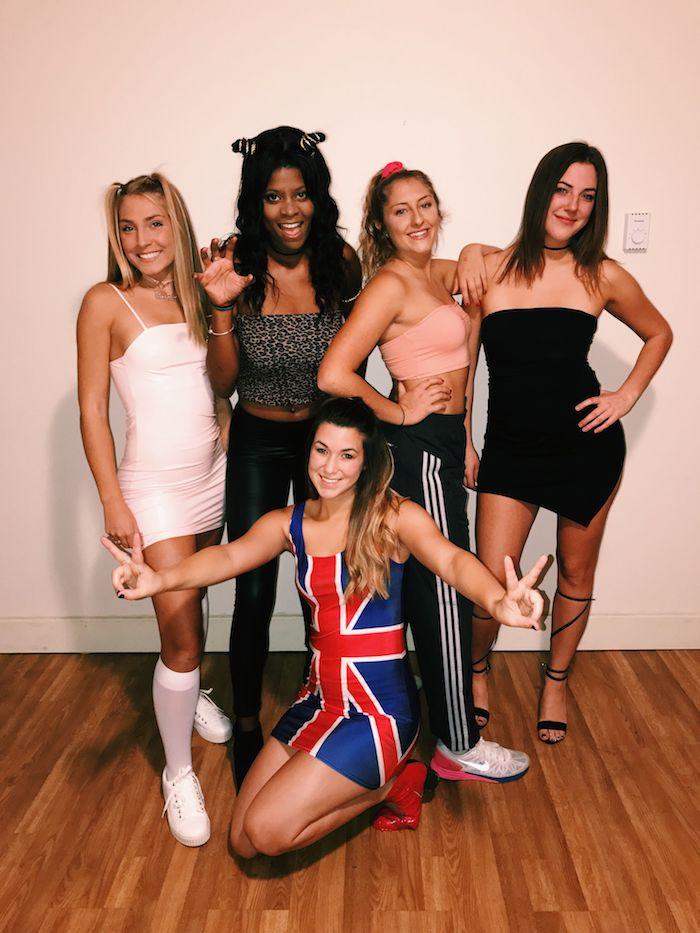 Spice Girls tenue de groupe, comment s'habiller à la mode année 90, look année 90 inspiration Spice girls déguisement pour 5 amies