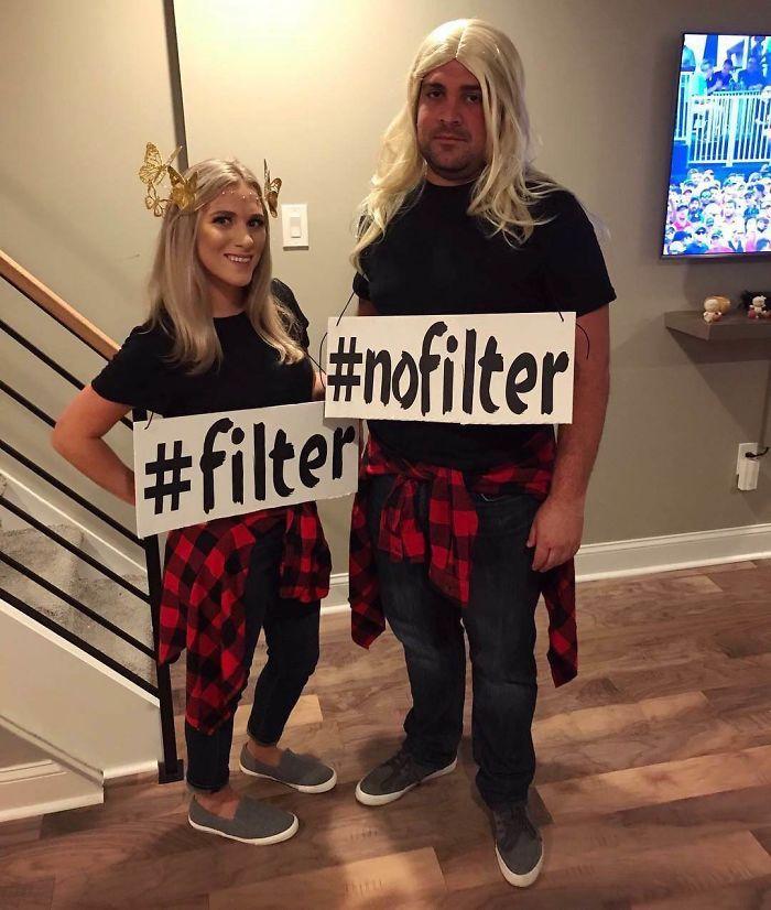 Amusante idée deguisement homme et femme, photo sans et avec filtre de la meme femme déguisement halloween pour couple