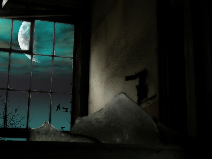 wallpaper ordinateur avec photo halloween terrifiante, fond écran halloween avec paysage nocturne et pleine lune