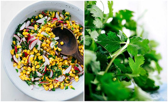 recette de farce facile pour des tacos mexicains, recette de tacos au maïs, radis et coriandre hachée