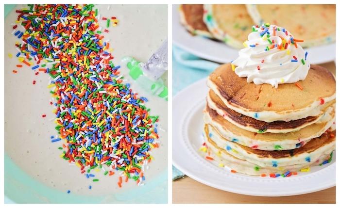 petit dejeuner d anniversaire ou gouter d anniversaire, pancakes aux vermicelles de sucre avec topping creme fraiches et confettis colorés