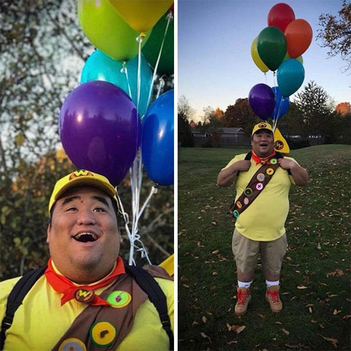 Drole déguisement original, habit halloween simple à faire, accessoire ballons colorés, dessin animé