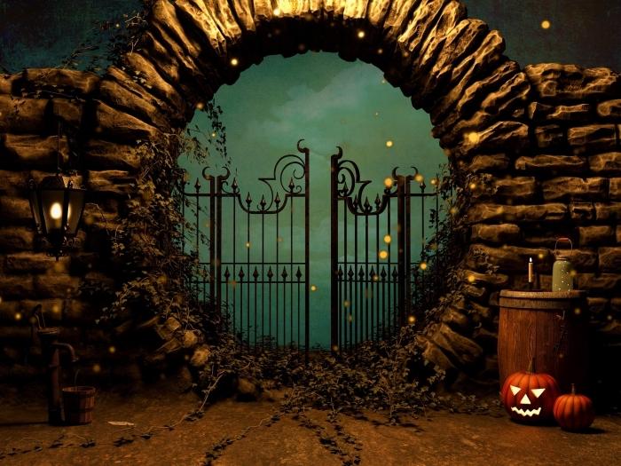 fond d'écran horreur pour ordinateur Halloween, art digital avec paysage nocturne terrifiant dans la nuit de Halloween