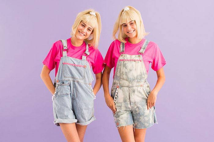 Olsen jumelles deux filles ado déguisement amies, coiffure année 90, déguisement cinéma original