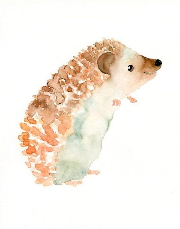 Peinture a l'aquarelle automnal dessin herisson, dessin automne adorable animal, dessin d'hérisson