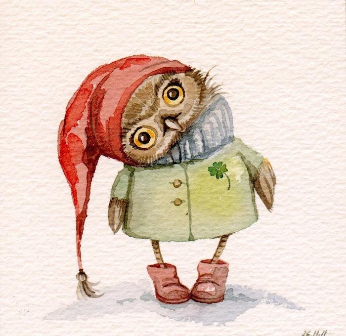 Hibou prêt pour l'automne, adorable peinture aquarelle, dessin ecureuil, chouette idée comment dessiner automne