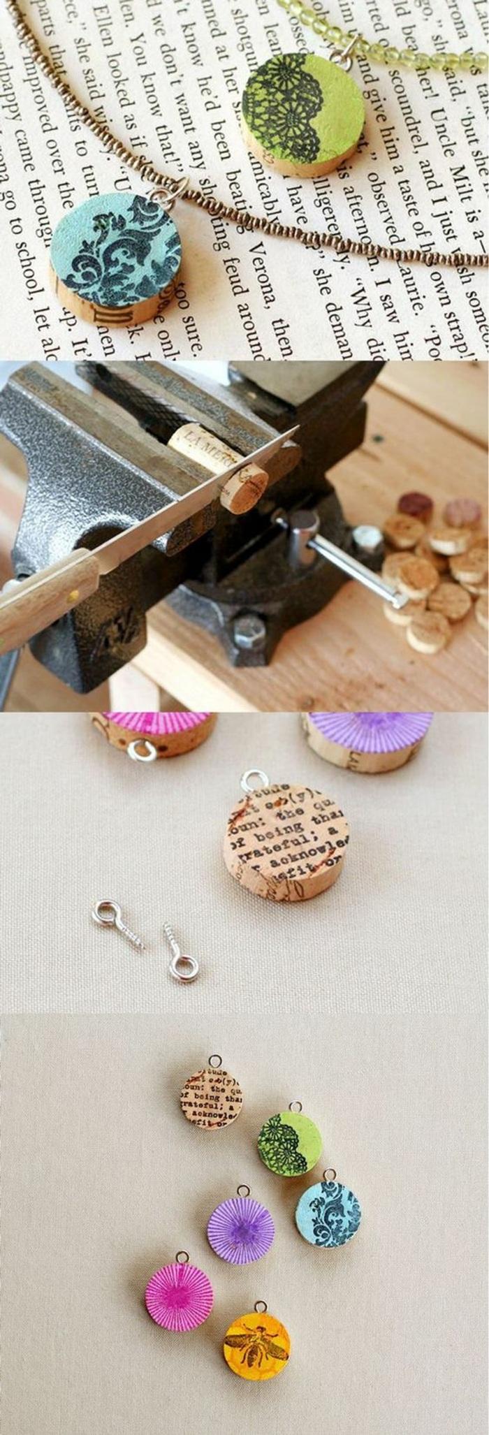 que faire avec bouchons de liège, idée bijoux à faire soi même, activité manuelle ado, fabrication collier avec pendentif de liège