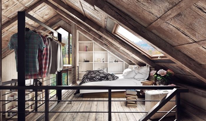 design rustique dans comble aménageable, projet rénovation grange à garde corps mezzanine deux niveaux