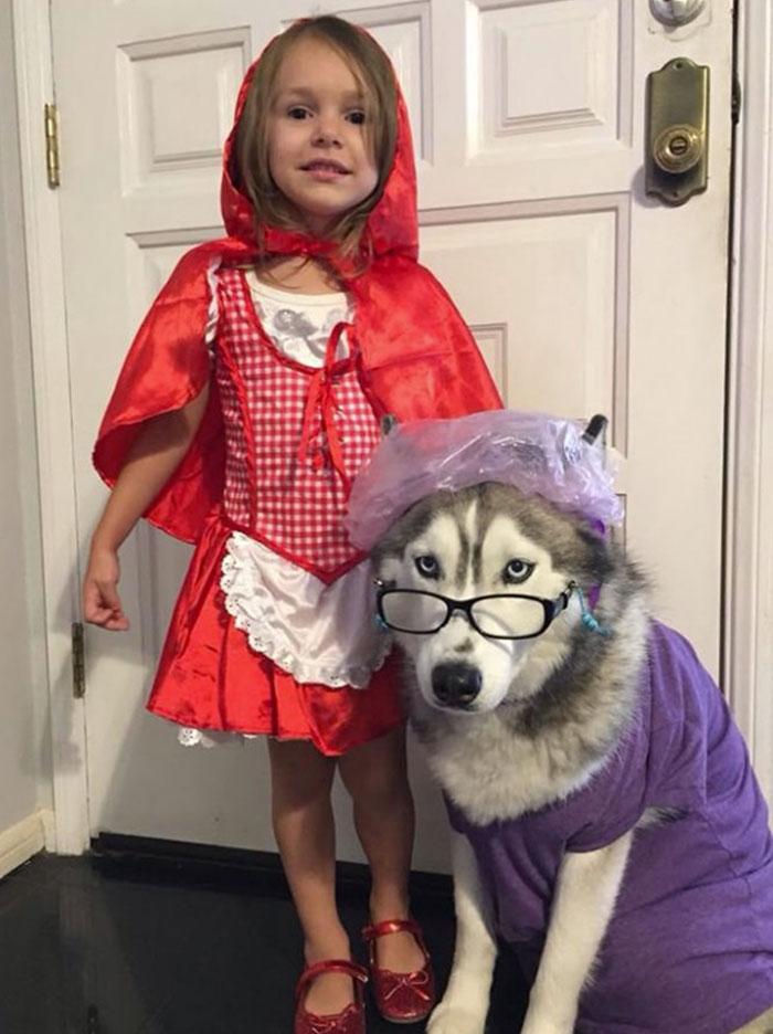 Le petit chaperon rouge et son chien comme le loup, déguisement fille et chien, idée comment deguiser son enfant