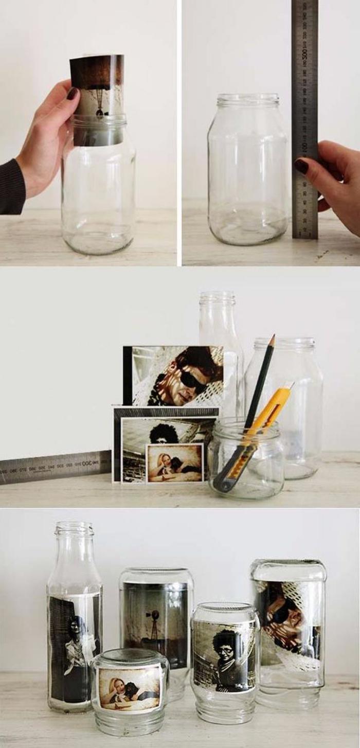 que faire avec des photos, idée cadeau bricolage, exemple recyclage bouteille en verre avec photo, diy photo dans verre