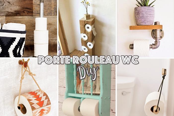 deco toilettes originales, loisir créatif pour faire un objet déco wc, modèle de porte rouleau papier de toilette DIY