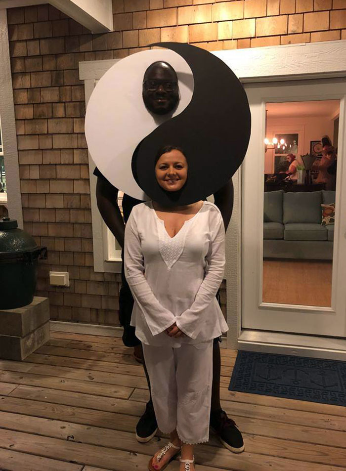 Inn et yang symboles idée costume halloween, déguisement halloween fait maison