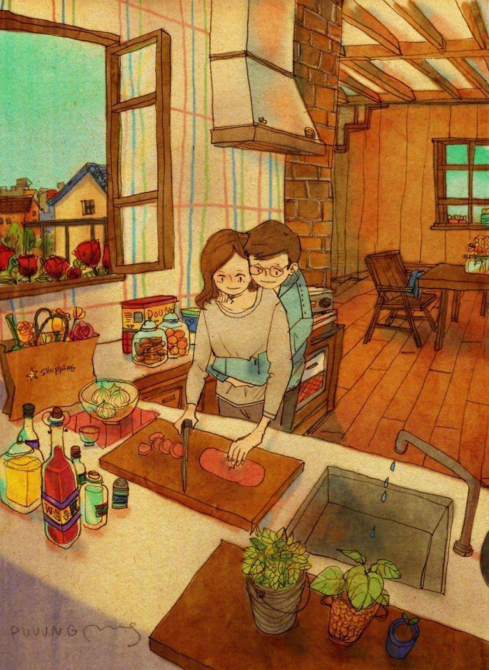 Couple habillé pour l'automne dans sa cuisine, préparer le déjeuner ensemble dessin couple mignon, belle image intérieur d'un appartement