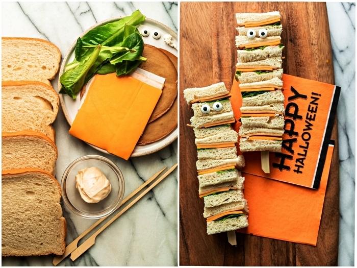 brochette de sandwiches au fromage, laitue, mayonnaise et fromage frais, idées recettes faciles pour le gouter halloween