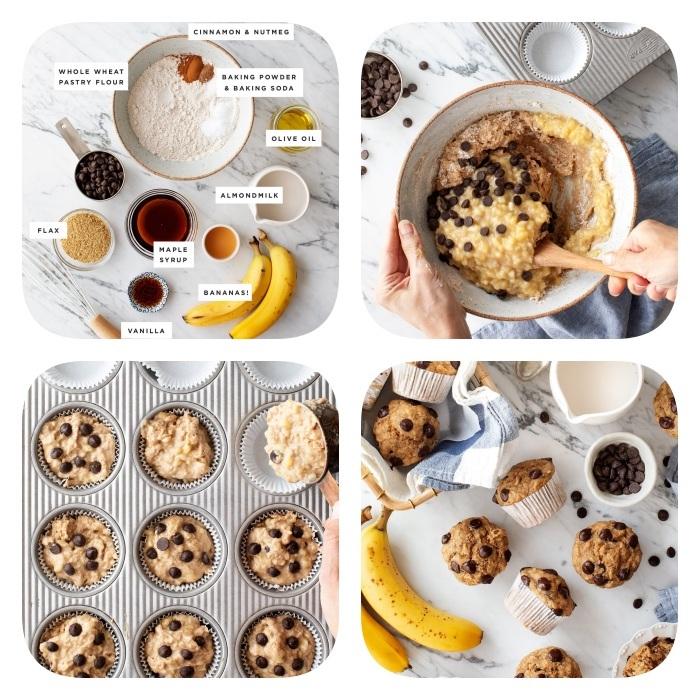 recette pate a cookie originale faire des muffins façon cookies healthy avec bananes, farine complete, farine d amande, cookies vegan