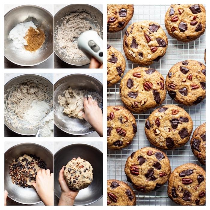faire des cookies vegan sans oeufs avec des graines d elin, noix, copeaux de chocolat noir et pecan