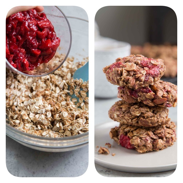recette cookies flacons d avoine au beurre de cacahuete, sirop d erbale, huile de coco, cannelle, amandes, farine complete et cerises