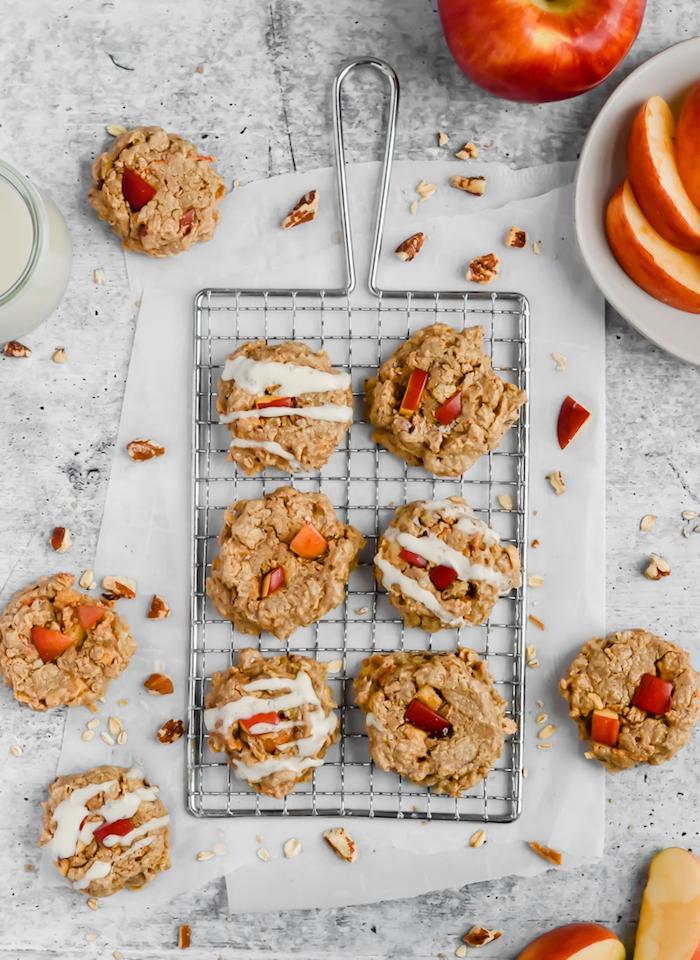 recette cookies extra moelleux au beurre de cajou, tranches de pomme, avoine et épices, idee de petit déjeuner minceur