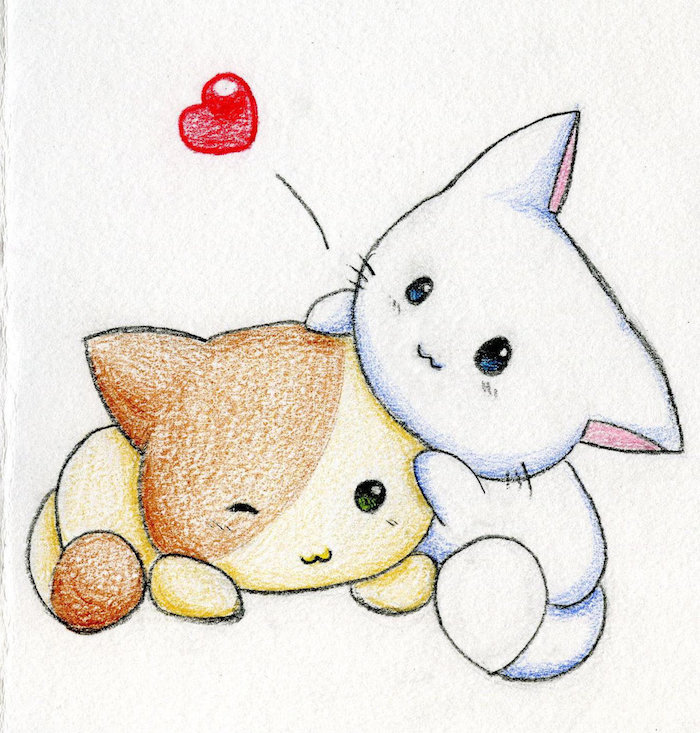 dessin trop mignon de deux chats, idee de dessin kawaii animaux, chat blanc et chat marron et jaune en train de jouer, petit coeur rouge