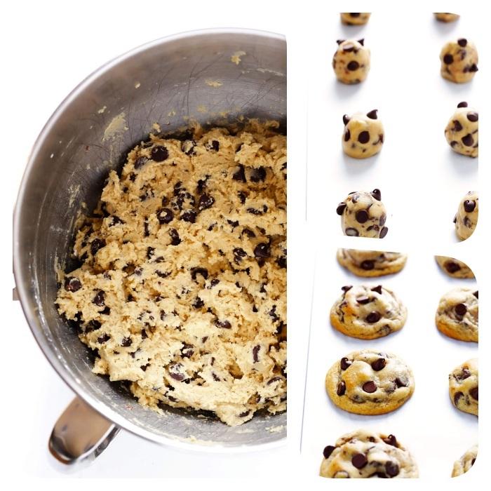 recette traditionnelle cookies pepite chocolat, farine, sucre blanc, sucre roux beurre, idee dessert et petit dejeuner ideal