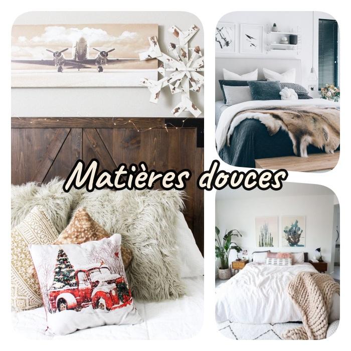 choisir des matières douces pour le linge de lit, le lin, le coton, la laine, le velours, peaux de mouton pour creer une ambiance cosy