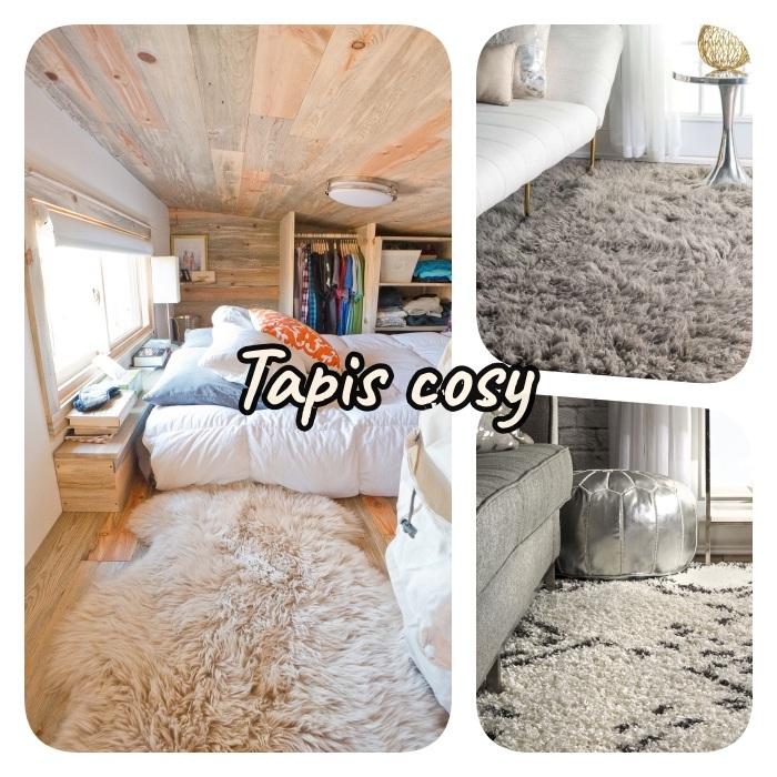creer une ambiance cosy dans la chambre adulte deco avec un tapis cocooning de peau de mouton, tapis shaggy à gros poils